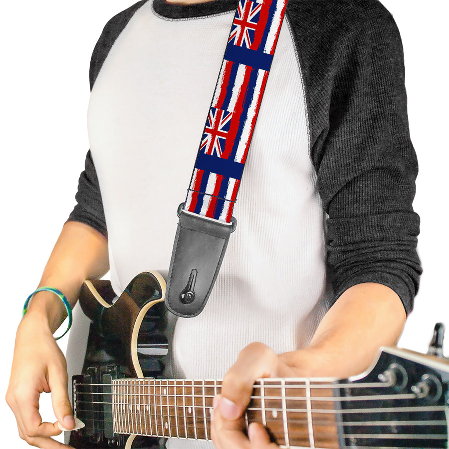 Guitar Strap - Hawaii Flags Weathered Blue Red White