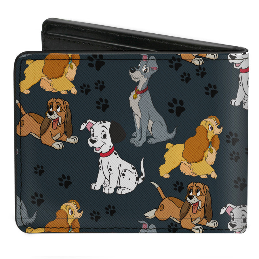 Bi-Fold Wallet - Disney Dogs 4-Dog Group Collage Paws Gray Black