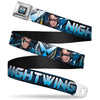 Nightwing Logo2 Full Color Black Blues Yellow Seatbelt Belt - NIGHTWING Poses/Logo Black/Blues Webbing
