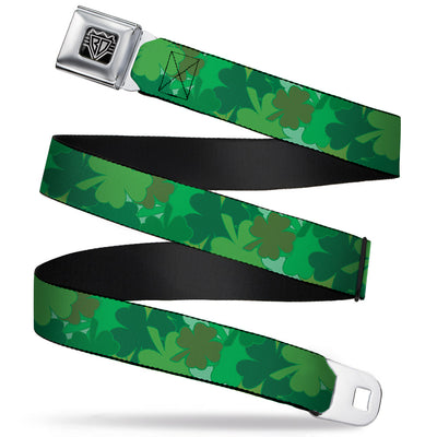 BD Wings Logo CLOSE-UP Full Color Black Silver Seatbelt Belt - St. Pat's Stacked Shamrocks Greens Webbing