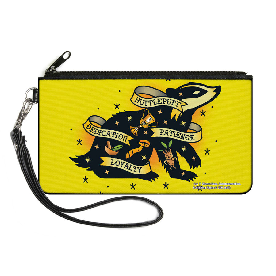 Canvas Zipper Wallet - LARGE - Harry Potter HUFFLEPUFF Badger PATIENCE DEDICATION LOYALTY Tattoo Yellow