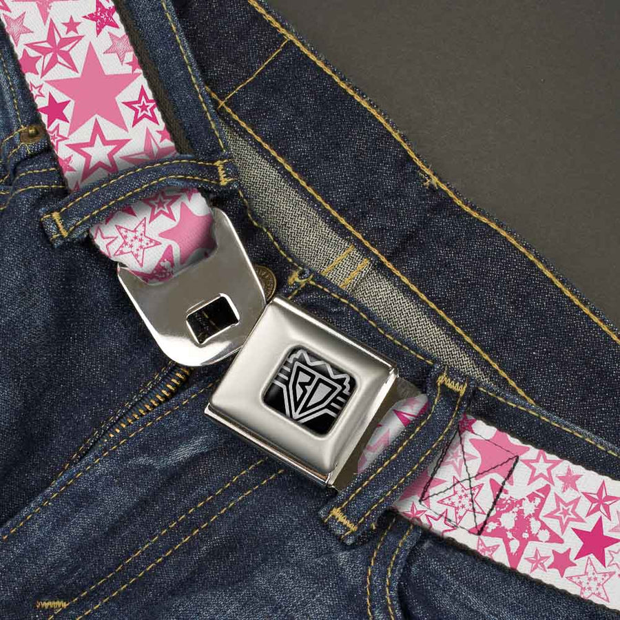 BD Wings Logo CLOSE-UP Full Color Black Silver Seatbelt Belt - Stargazer White/Pink Webbing