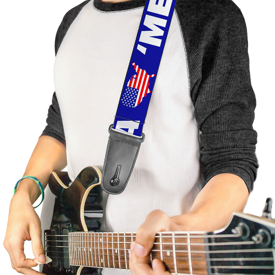 Guitar Strap - MERICA USA Silhouette Blue White US Flag