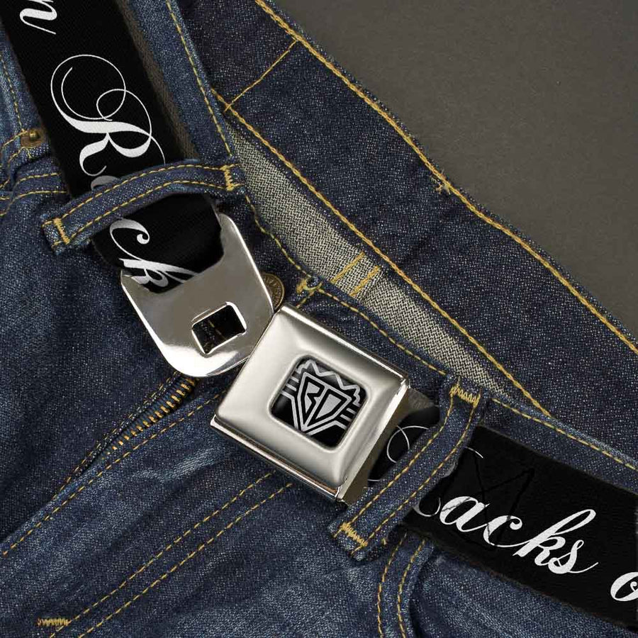BD Wings Logo CLOSE-UP Full Color Black Silver Seatbelt Belt - RACKS ON RACKS Black/White Webbing