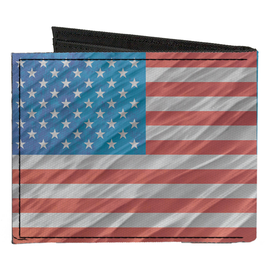 Canvas Bi-Fold Wallet - American Flag Waving