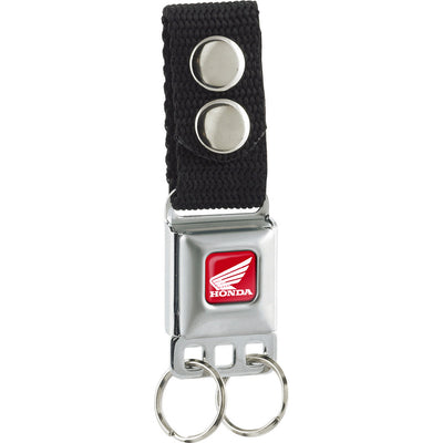 Keychain - HONDA Motorcycle Full Color Red White - Black Webbing