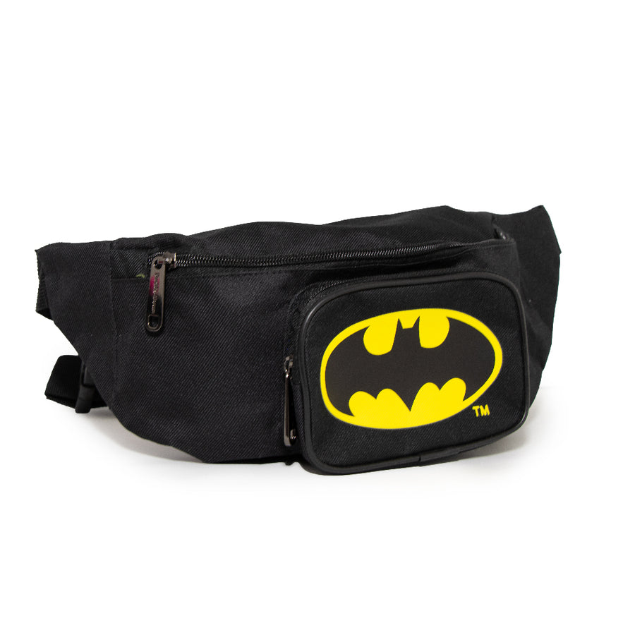 Fanny Pack - Double Zipper - Batman Bat Signal Yellow Black