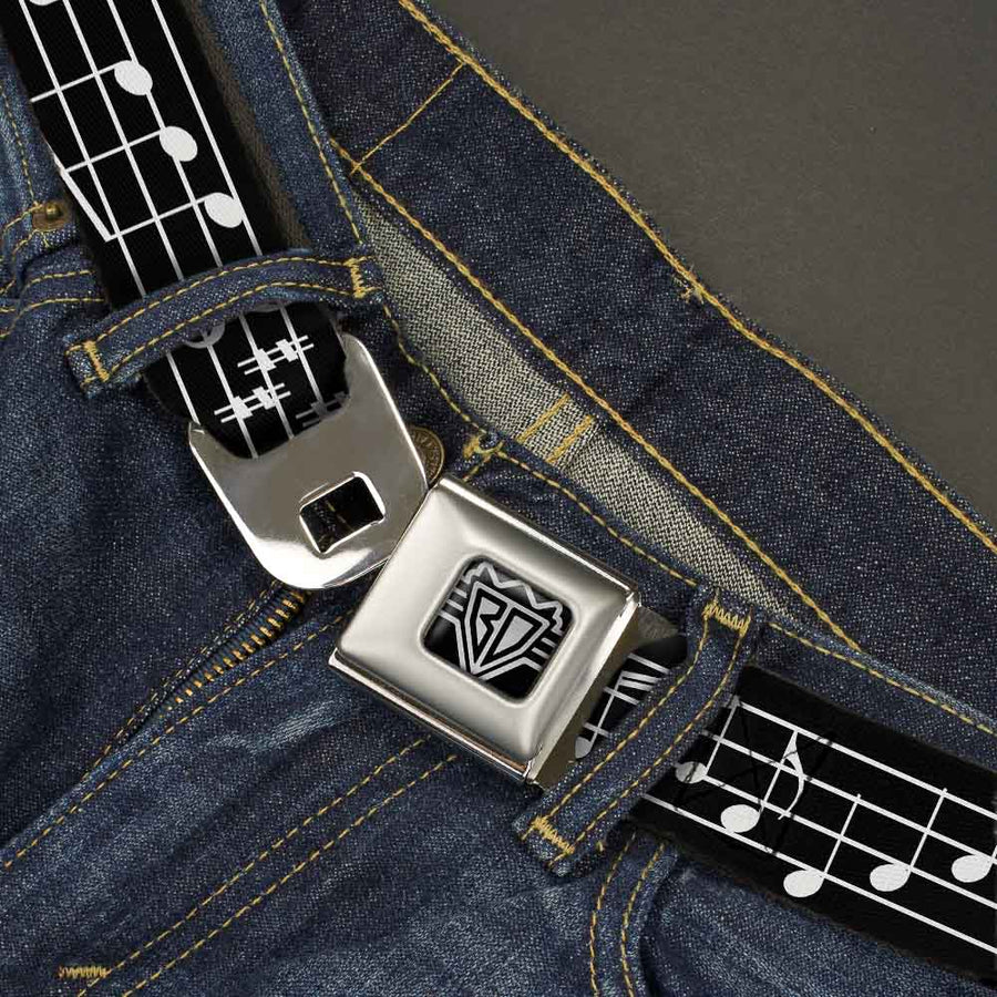 BD Wings Logo CLOSE-UP Full Color Black Silver Seatbelt Belt - Music Notes Black/White Webbing