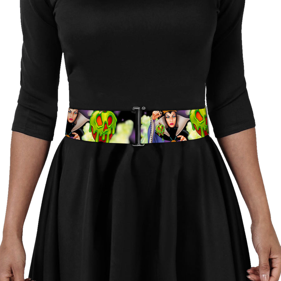 Cinch Waist Belt - Evil Queen Poisoned Apple Pose Poisoned Apple CLOSE-UP Black Greens Purples