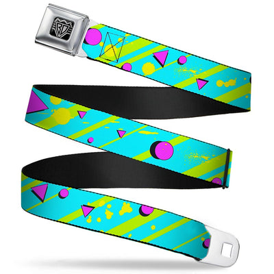 BD Wings Logo CLOSE-UP Full Color Black Silver Seatbelt Belt - Eighties Party Blue/Yellow/Pink Webbing