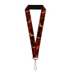 "Lanyard - 1.0"" - WONDER WOMAN Logo Text Scattered Rays Weathered Burgundy Gold"