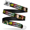JL Logo Full Color Grays Black White Seatbelt Belt - JUSTICE LEAGUE Logo/4-Superhero Panels Pop Art Webbing