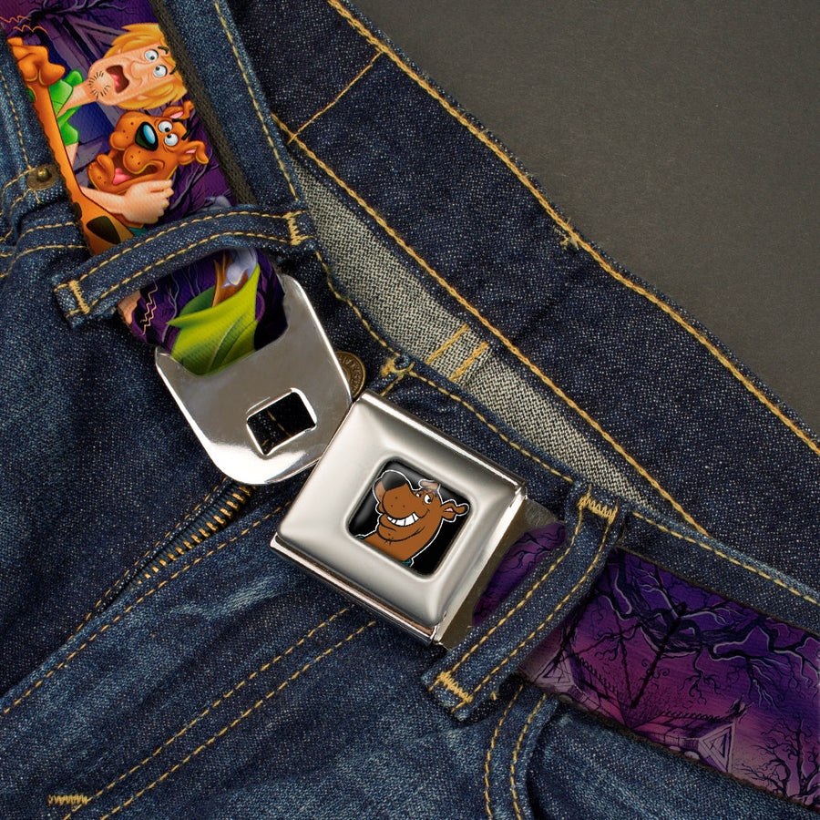 Scooby Doo Face Full Color Black Seatbelt Belt - Scooby & Shaggy Hugging w/Werewolf Man Purple Webbing
