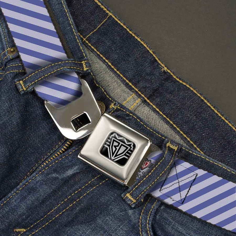 BD Wings Logo CLOSE-UP Full Color Black Silver Seatbelt Belt - Diagonal Stripes Pastel Blues Webbing