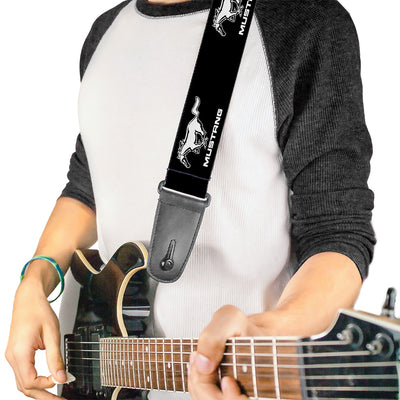 Guitar Strap - Ford Mustang Black White Logo REPEAT