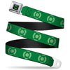 Green Lantern Logo CLOSE-UP Black Green Seatbelt Belt - Green Lantern Logo Weathered Greens Webbing