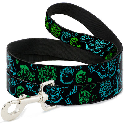 Dog Leash - Monsters Inc. Sully & Mike Poses/GRRRRR! Black/Turquoise/Green