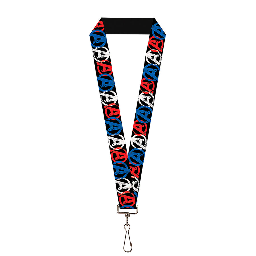 "MARVEL AVENGERS Lanyard - 1.0"" - Avengers ""A"" Logo Weathered Black Blue White Red"