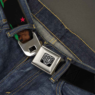 BD Wings Logo CLOSE-UP Full Color Black Silver Seatbelt Belt - California Flag Bear Black Webbing