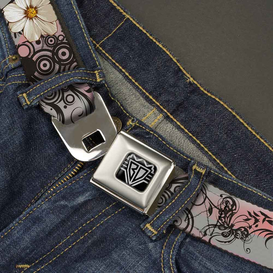 BD Wings Logo CLOSE-UP Full Color Black Silver Seatbelt Belt - Flowers w/Filigree Pink Webbing