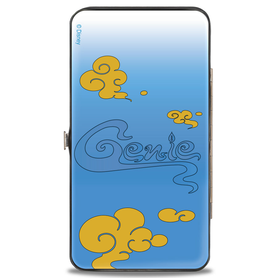 Hinged Wallet - Classic Aladdin Genie Smiling Pose + GENIE Text Smoke Blue Gold