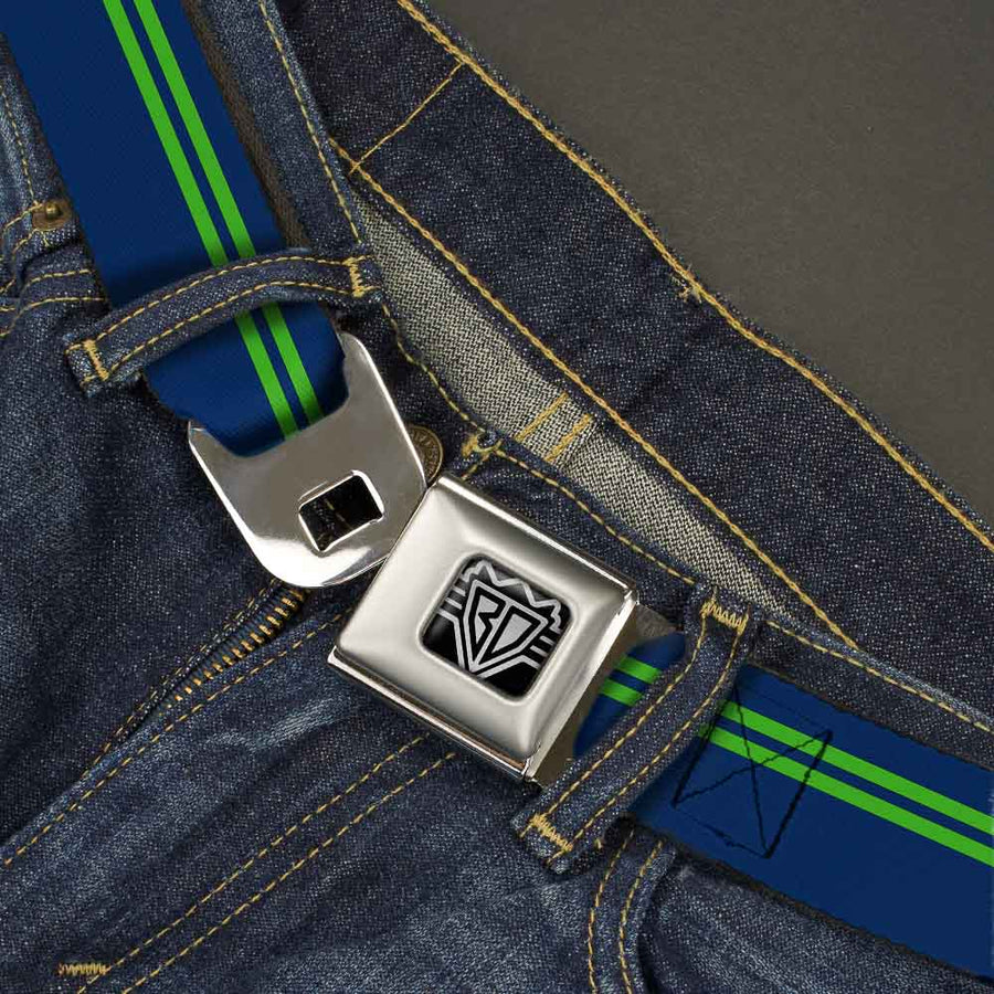 BD Wings Logo CLOSE-UP Full Color Black Silver Seatbelt Belt - Racing Stripe Navy/Bright Green Webbing