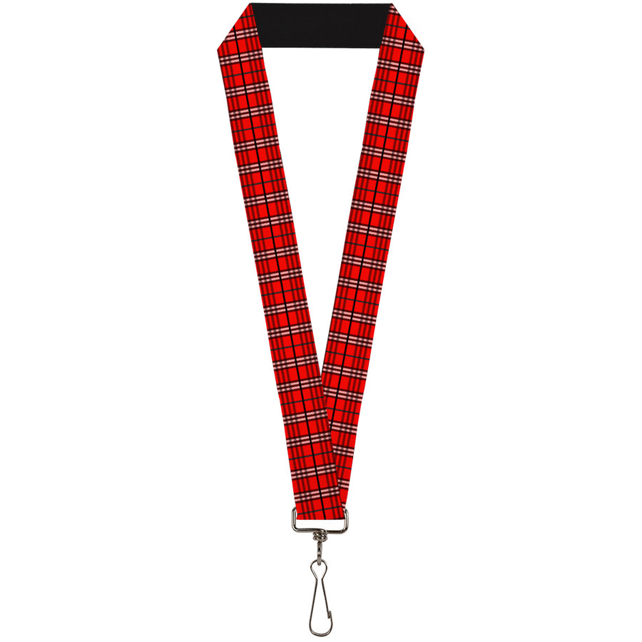 "Lanyard - 1.0"" - Plaid Red"