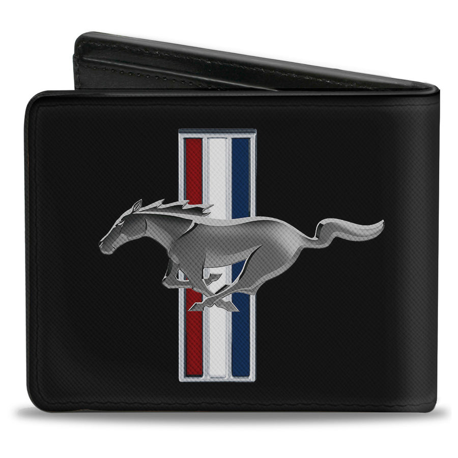 Bi-Fold Wallet - Ford Mustang w Bars Logo CENTERED