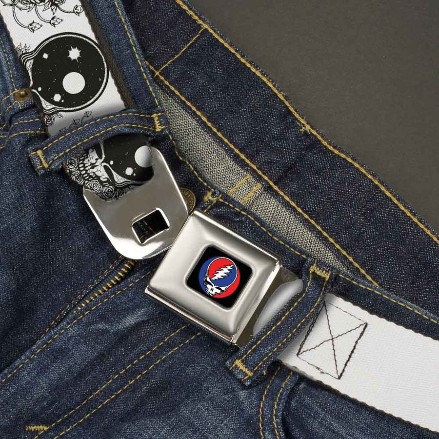 Steal Your Face Seatbelt Belt - Space Your Face White/Black Webbing