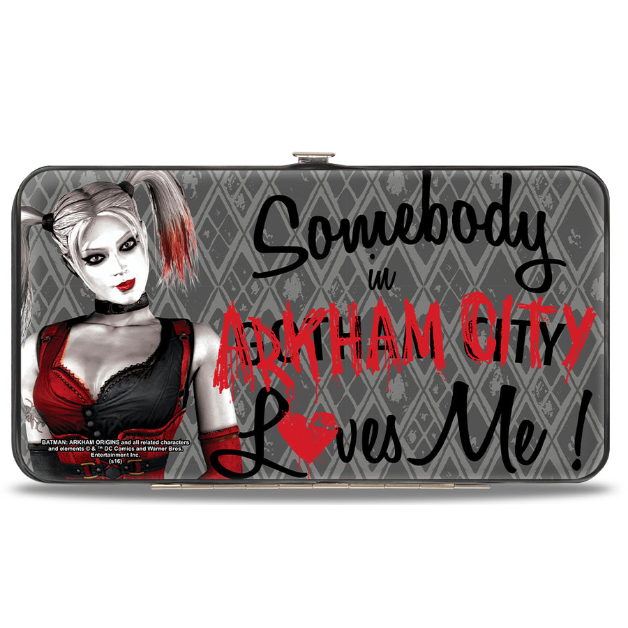 Hinged Wallet - Harley Quinn Pose SOMEBODY IN ARKHAM CITY LOVES ME Diamonds Grays Black Red