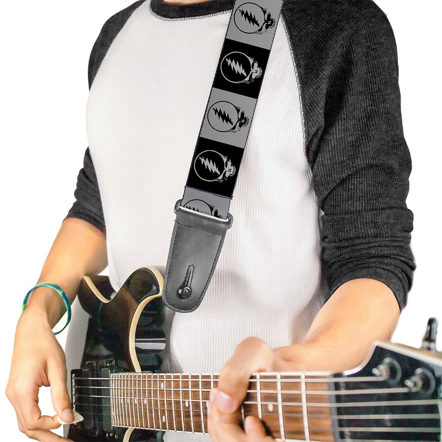 Guitar Strap - Steal Your Face Blocks Black White-Gray Black