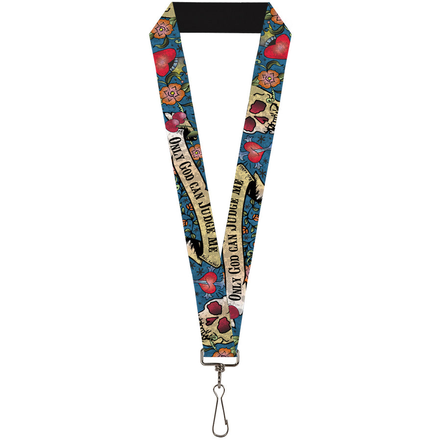 "Lanyard - 1.0"" - Only God Can Judge Me Blue"