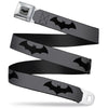 Retro Bat Logo Full Color Gray Black Seatbelt Belt - Retro Bat Logo Gray/Black Webbing