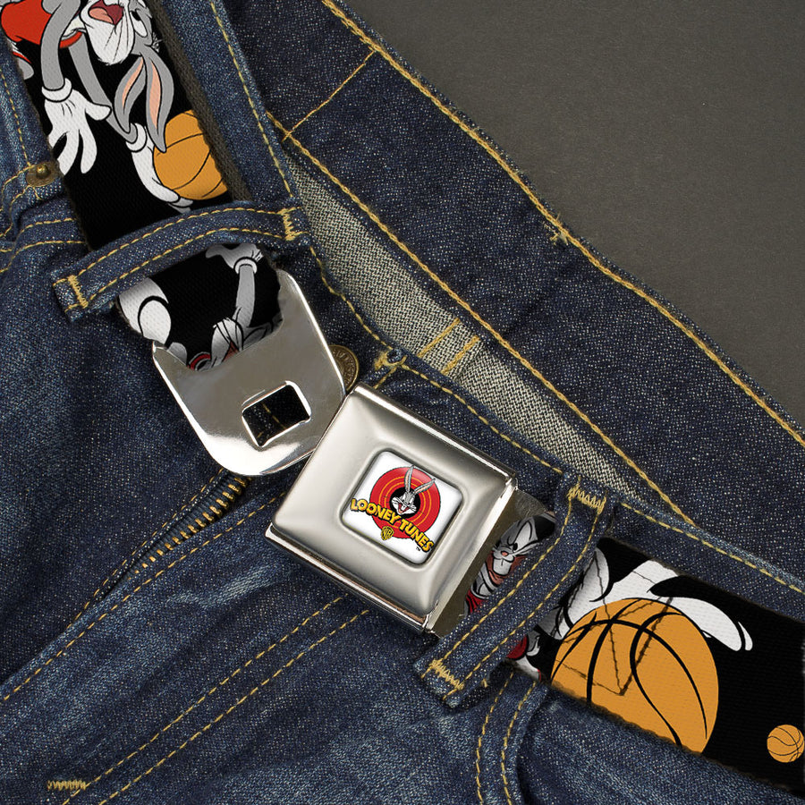 Looney Tunes Logo Full Color White Seatbelt Belt - Bugs Bunny 4-Basketball Poses Black Webbing