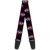 Guitar Strap - Steal Your Face Repeat w Mini Lightning Bolt Black Red White Blue