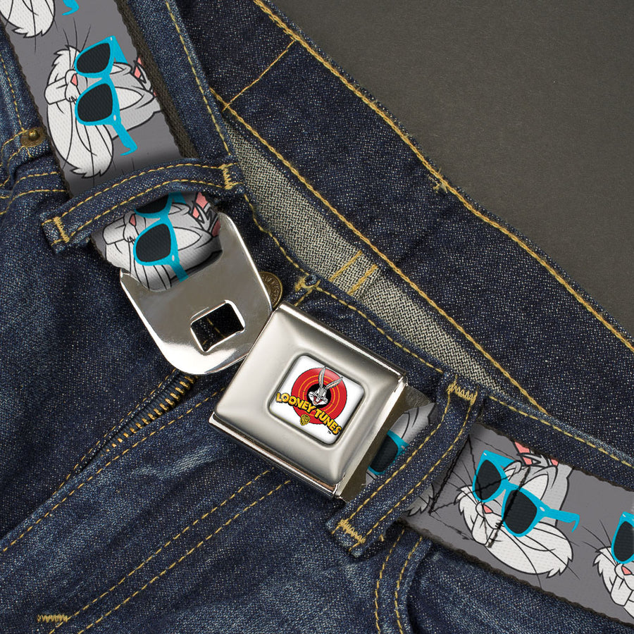Looney Tunes Logo Full Color White Seatbelt Belt - Bugs Bunny Sunglasses Expression Gray Webbing