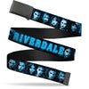 Black Buckle Web Belt - RIVERDALE 10-Character Faces Shatter Black/Blues Webbing