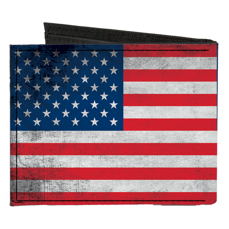 Canvas Bi-Fold Wallet - American Flag Distressed