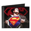 Canvas Bi-Fold Wallet - Superman Forever Clark Kent-Superman Transition Shield Black Red