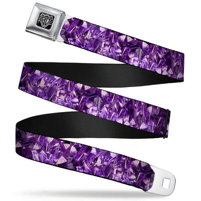 BD Wings Logo CLOSE-UP Full Color Black Silver Seatbelt Belt - Crystals Purples Webbing