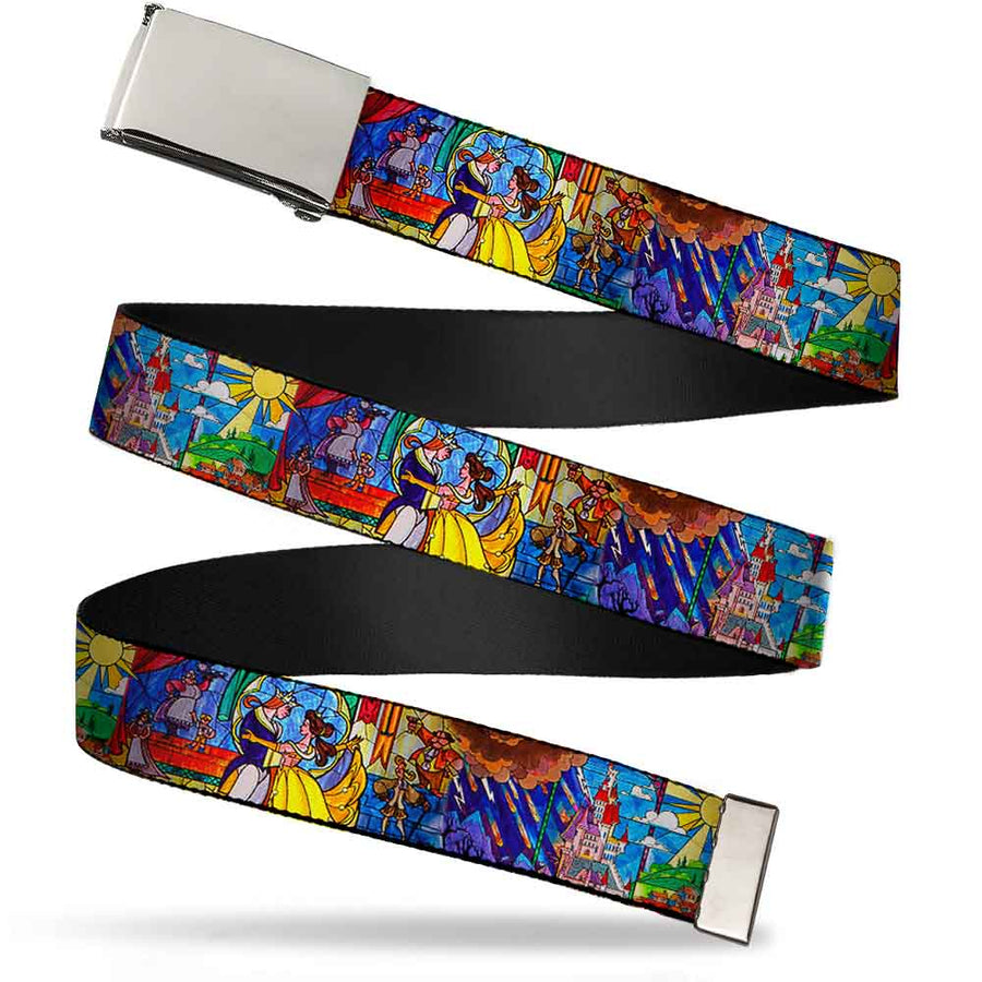 Chrome Buckle Web Belt - Beauty & the Beast Stained Glass Scenes Webbing