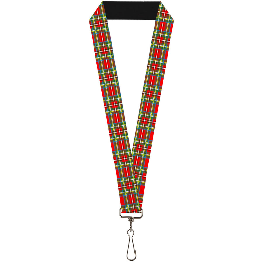"Lanyard - 1.0"" - Tartan Plaid Red Green"