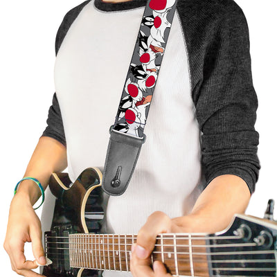Guitar Strap - Sylvester the Cat Expressions Gray