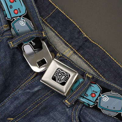 BD Wings Logo CLOSE-UP Full Color Black Silver Seatbelt Belt - Robots CLOSE-UP Black Webbing