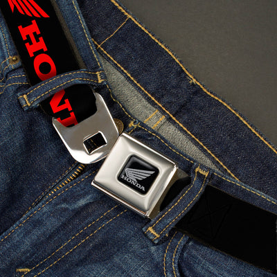 Honda Motorcycle Black Silver Seatbelt Belt - HONDA/Wing Logo Black/Red Webbing