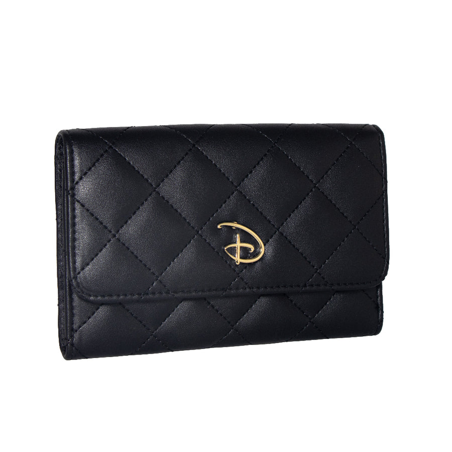Women's Fold Over Wallet Rectangle Quilted PU - Disney Signature D Logo Gold Enamel