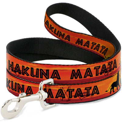 Dog Leash - Lion King HAKUNA MATATA Sunset Oranges/Black