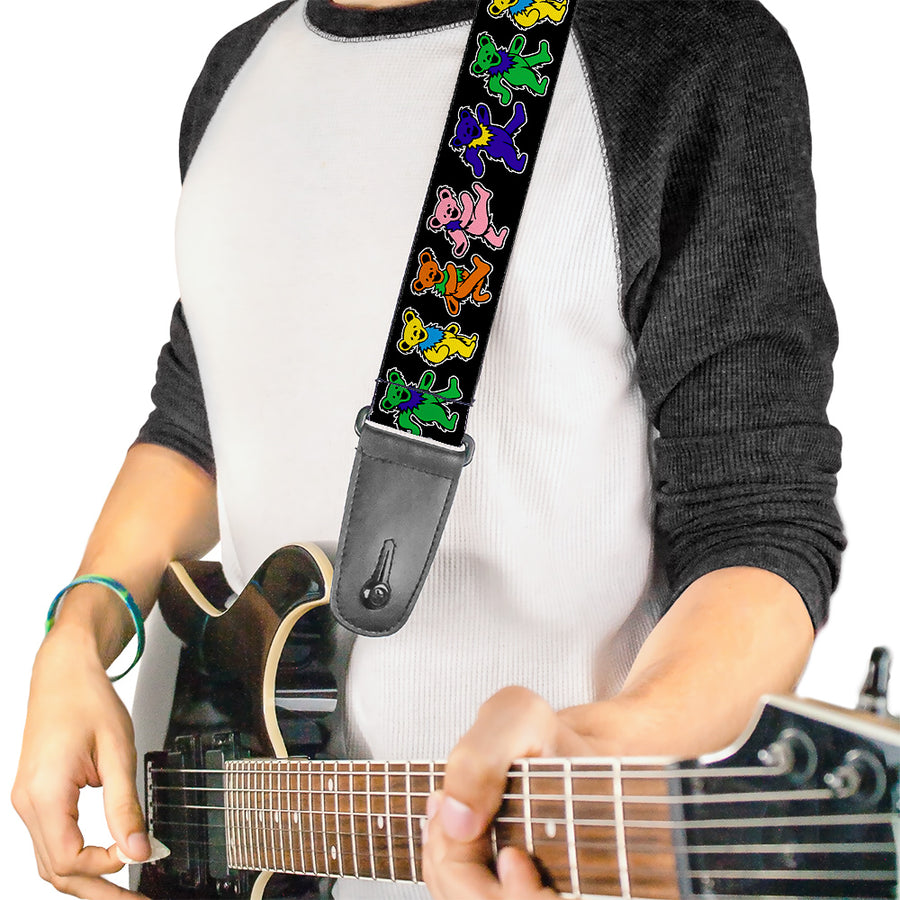 Guitar Strap - Dancing Bears Black Multi Color