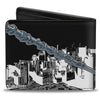 ULTIMATE SPIDER-MAN Bi-Fold Wallet - Spider-Man Swinging Pose2 Skyline Black White