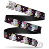 Floral Collage Full Color Multi Pastel Seatbelt Belt - Princess Silhouettes Dots Black/Purple/Gray/Multi Color Webbing